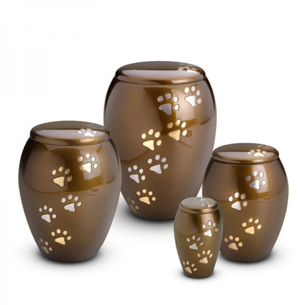 Always and Forever Memorial Products: Brass Pet Urns With Paws