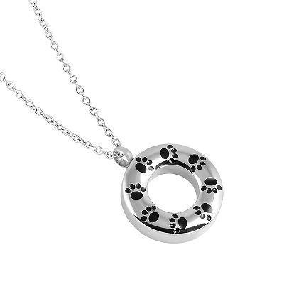 Paw Prints Circle Cremation Jewelry