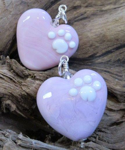 Pink Glass Heart With Paws – Large