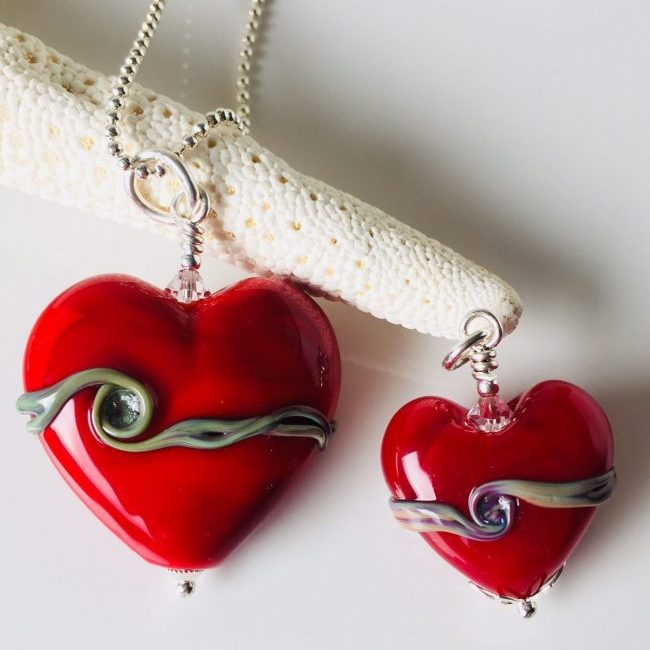 Red Heart Shaped Ash Infused Glass Memorial Beads