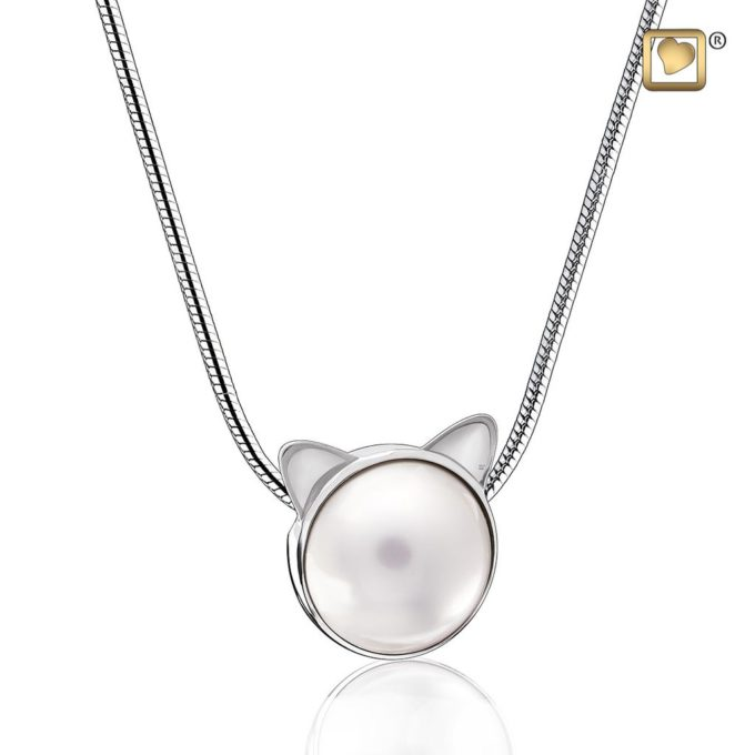 Always and Forever Memorial Products: Cat Pearl Cremation Pendant