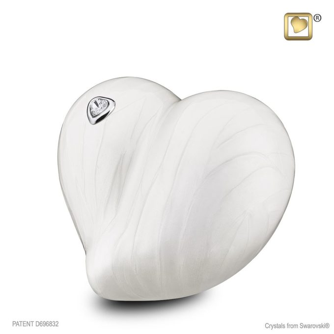 Always and Forever Memorial Products: Love Heart Urn Pearl