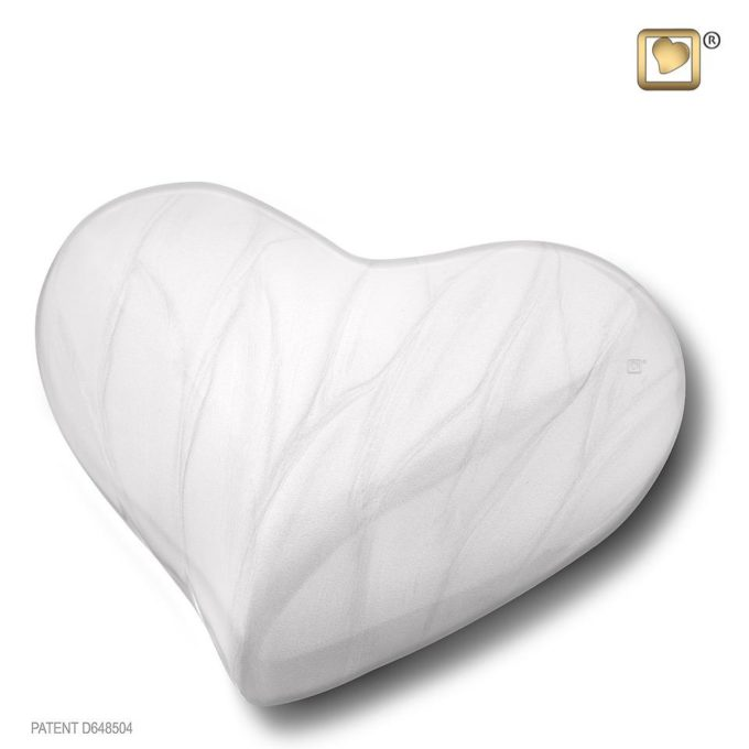 Always and Forever Memorial Products: Love Heart Keepsake Urn Pearl