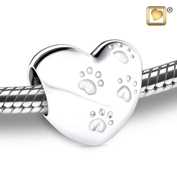Heart Shaped with Paw Prints Cremation Bead For Ashes LoveUrns Treasure Collection