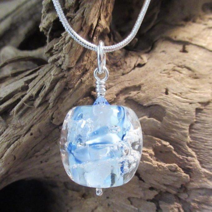 Blue Glass Barrel Memorial Beads
