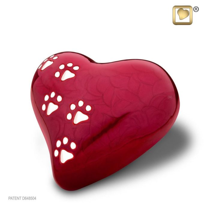 Red Heart Shaped Pet Urn with Silver Paw Prints