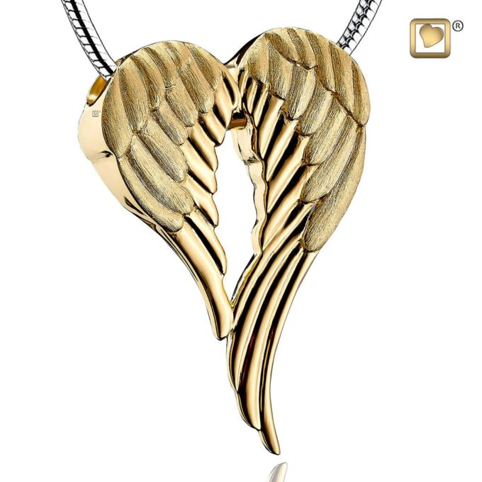 Golden wings cremation pendant