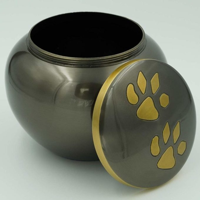 Brass Pet Urn with Dog Paws On Lid