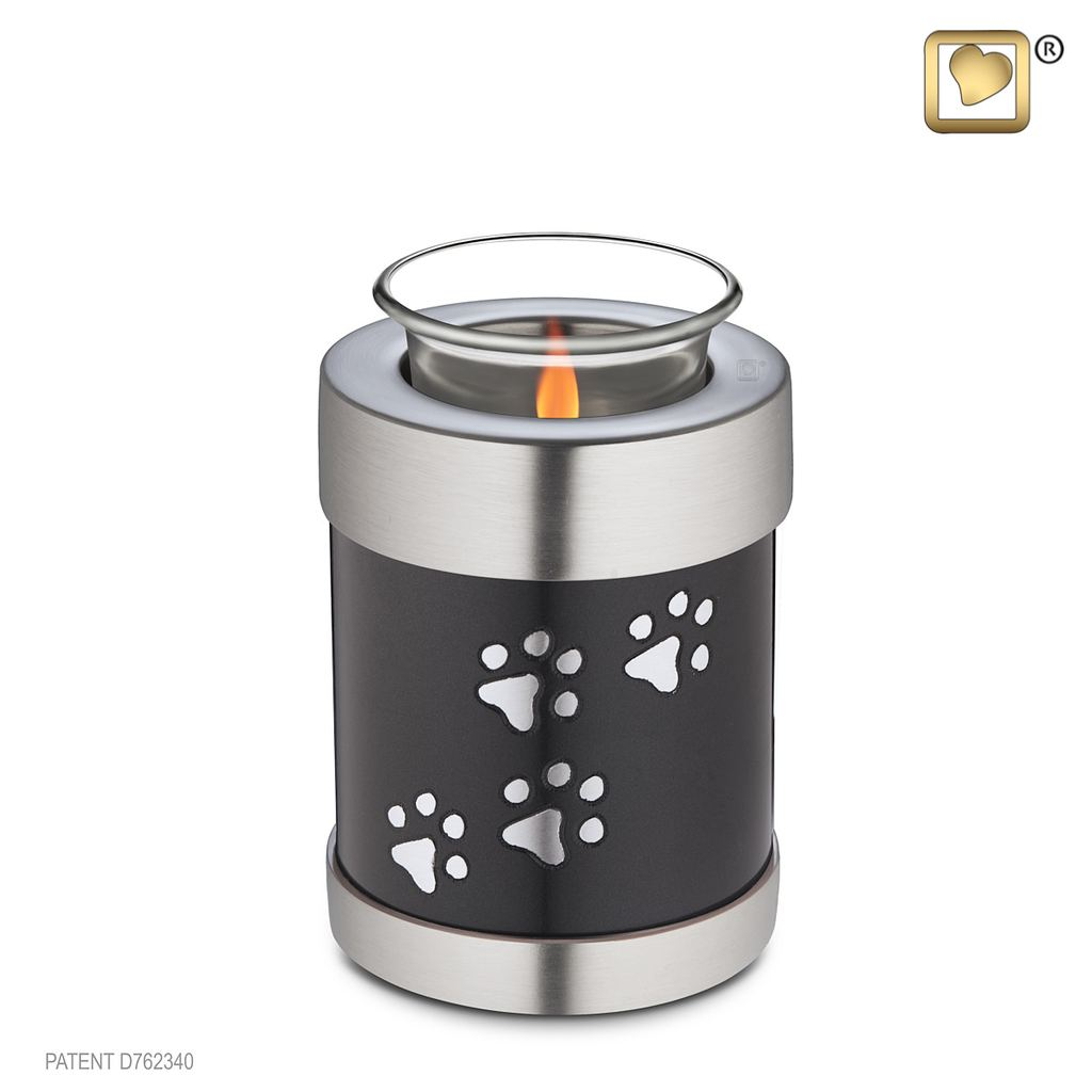 Black tealight urn silver paw prints