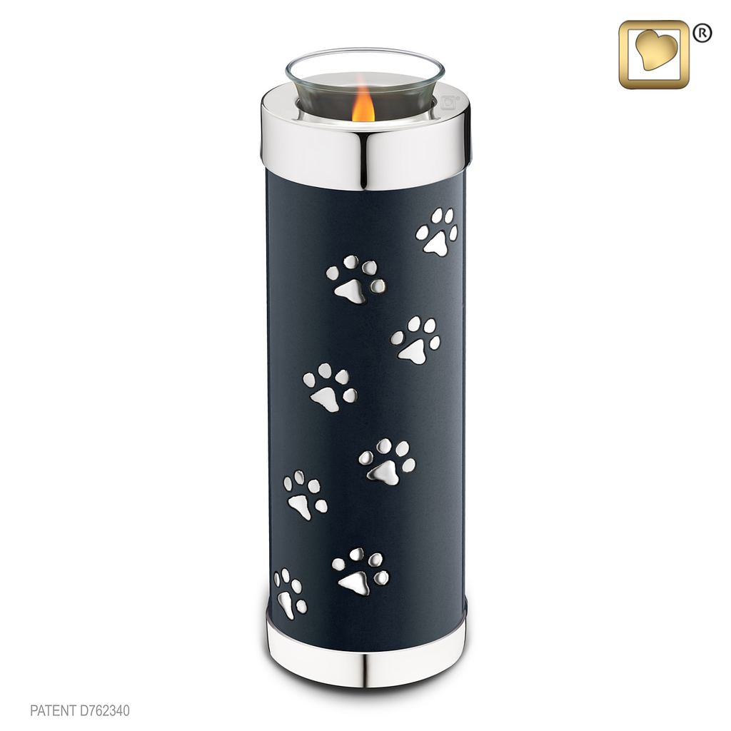 Tall Black silver Paw Tealight Pet Urn