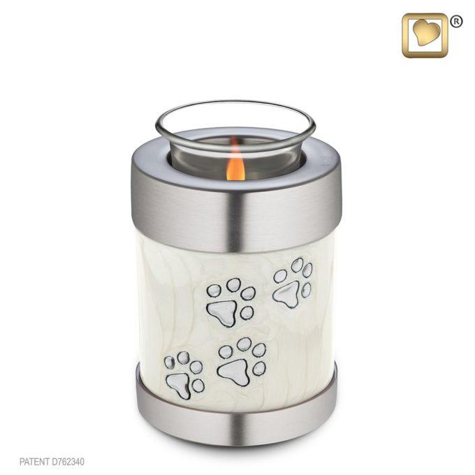 Paw prints on pearl tealight pet urn