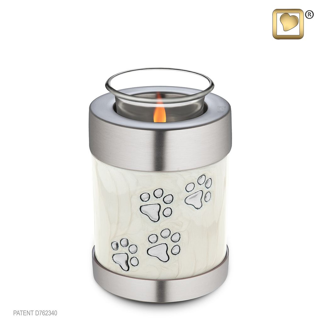 Paw prints on pearl tealight pet urn