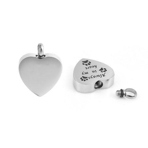 Always and Forever Memorial Products: Paw Hearts Ash Pendant