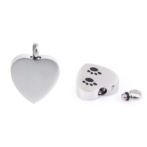 Heart Pendant With Paw Prints