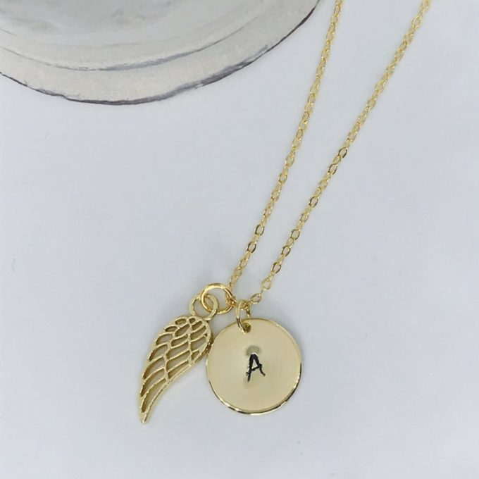 Dainty Wing Initial Pendant Gold Necklace