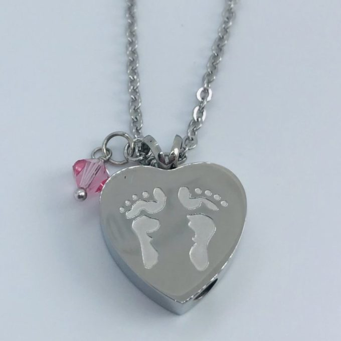 Always and Forever Memorial Products: Heart shaped with Baby Feet Ash Pendant