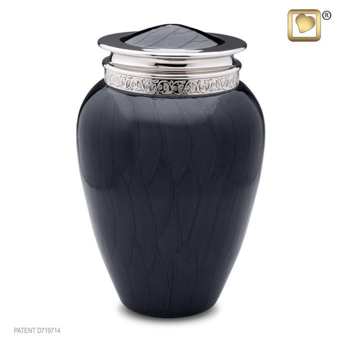 Black Adult Urn Engraved Silver Trim