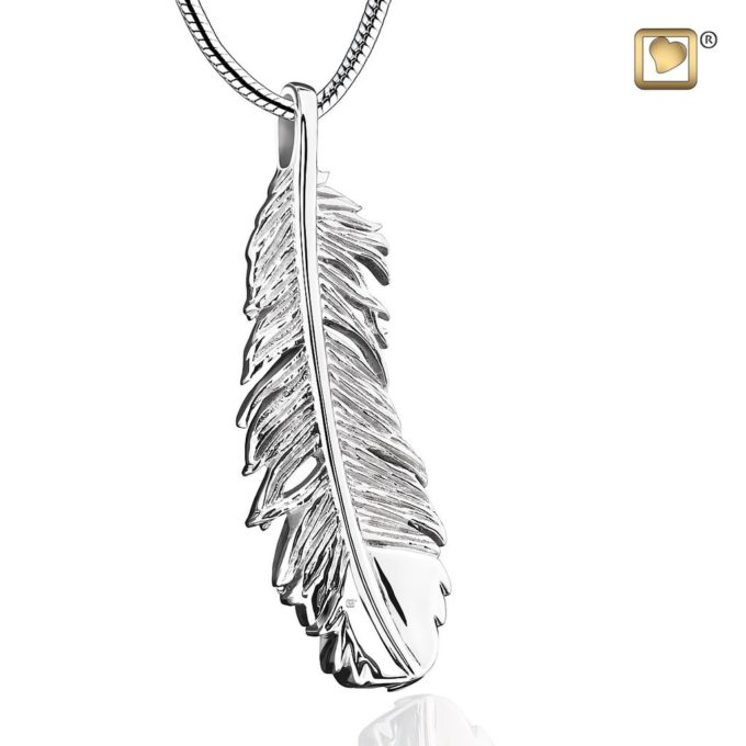 Feather Shaped Cremation Pendant For Ashes