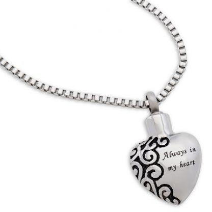 Always and Forever Memorial Products: Always In My Heart Ash Pendant