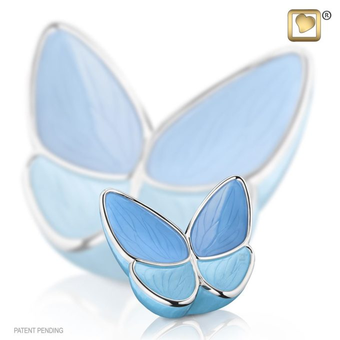 Blue Butterfly Keepsake Urn for Ashes