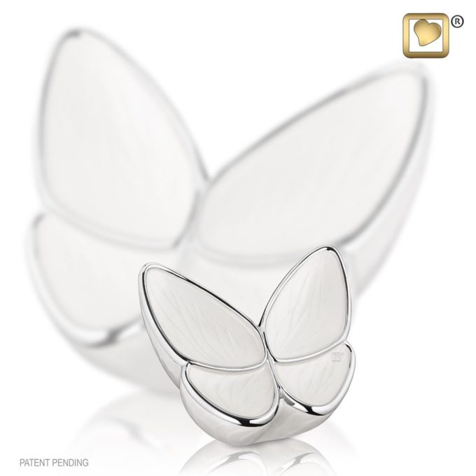 White Butterfly Mini Urn