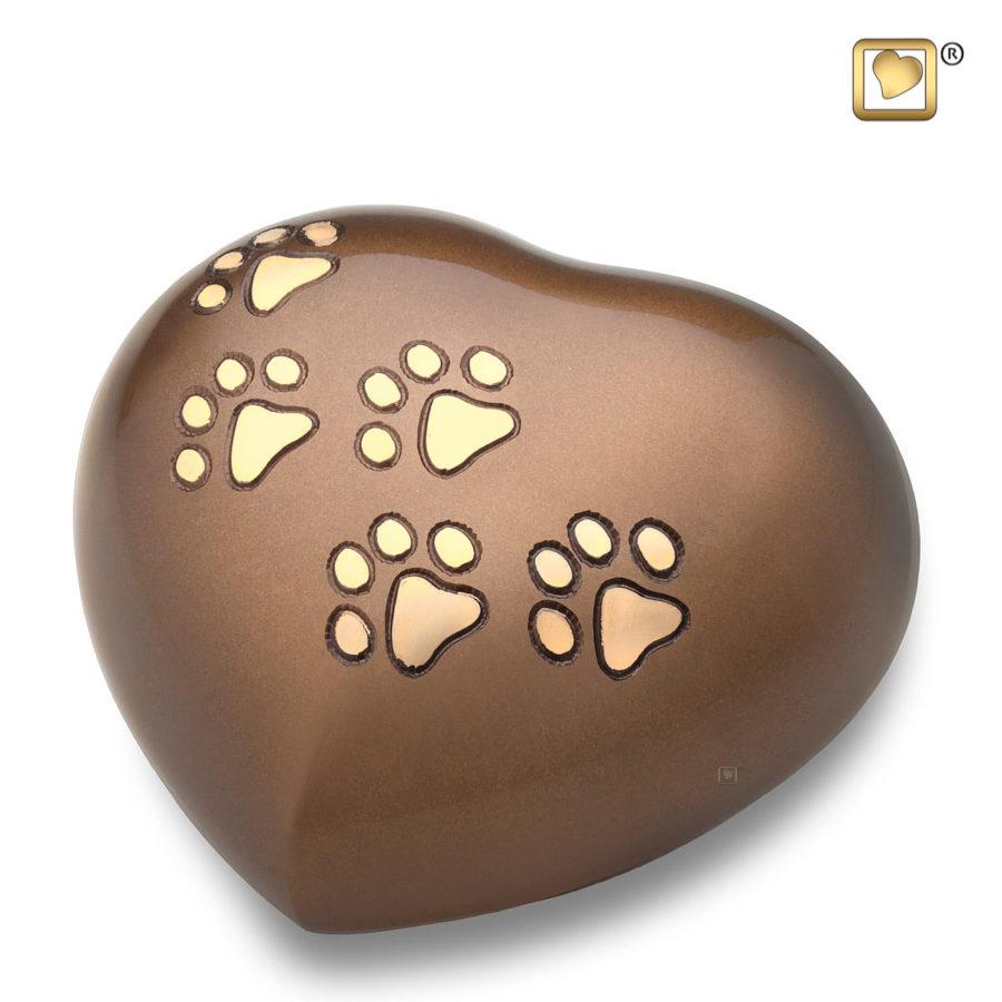 Bronze Paw Heart Urn