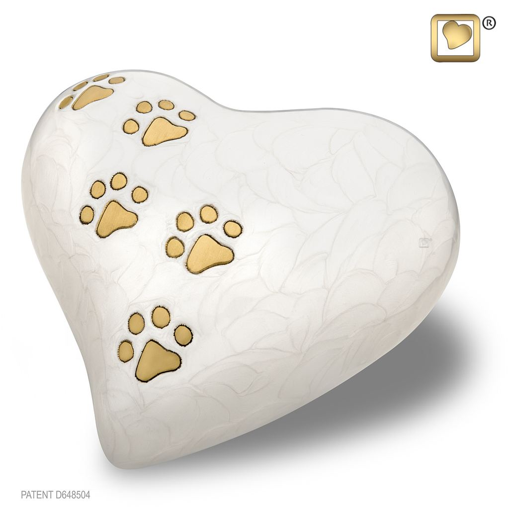 LovePaws Pearlescent White Heart Urn