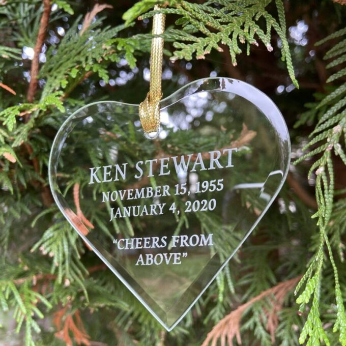 Always and Forever Memorial Products: Etched Jade Glass Ornament