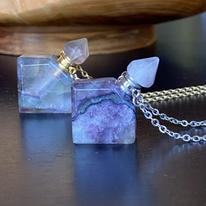 Fluorite Crystal Essential Oil Pendant