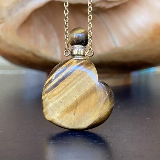 Tiger Eye Crystal Heart Essential Oil Bottle