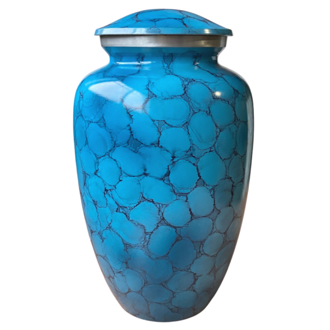 Blue Fire Finish Aluminum Urn