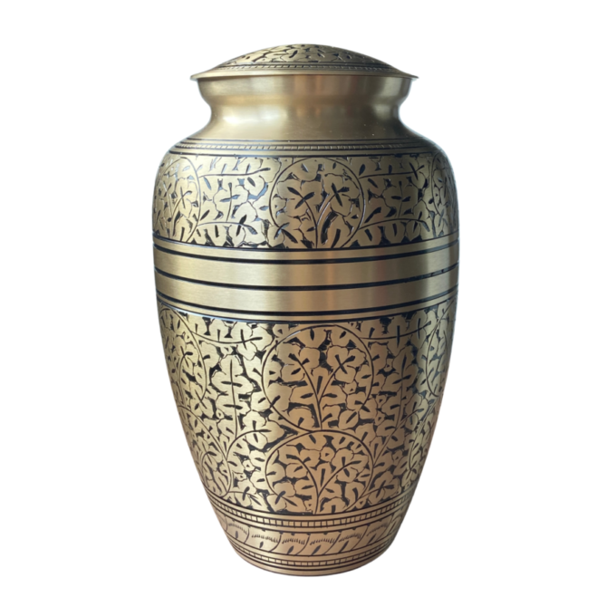 Brass Gold Cremation Urn Oak Leaf Design