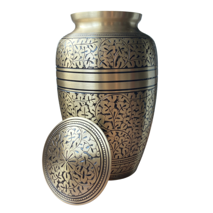 Brass Cremation Urn Oak Leaf Design