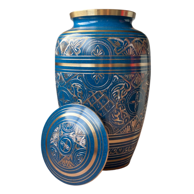 Blue gold hand engraved brass urn