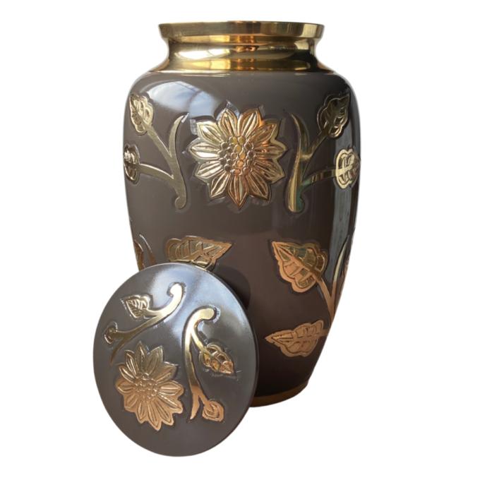 Golden Sunflowers Brass Urn