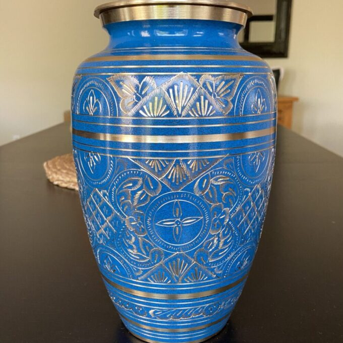 Always and Forever Memorial Products: Blue Radiance Brass Urn