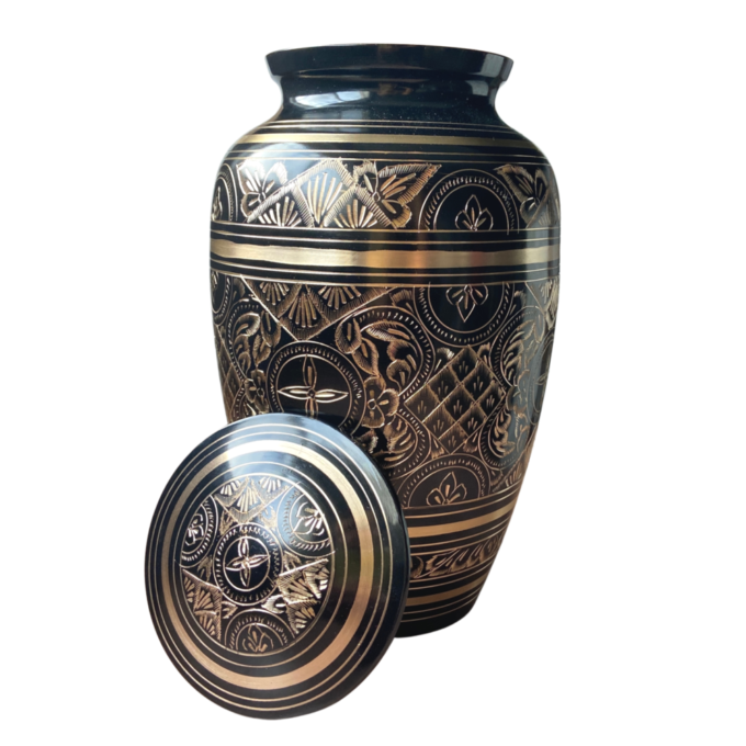 Always and Forever Memorial Products: Black Radiance Brass Urn
