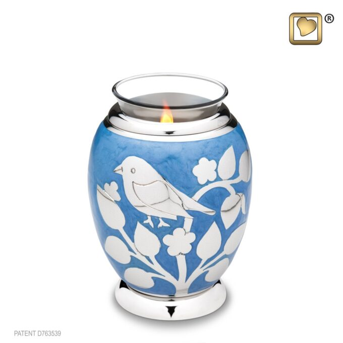 Blessing Birds Blue Tealight Urn
