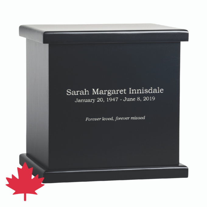 Innisdale Pine Cremation Urn Black Canada Made