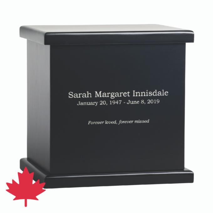Innisdale Pine Cremation Urn Black Canada Made