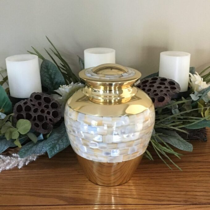 Gold Cremation Urn Mother Of Pearl