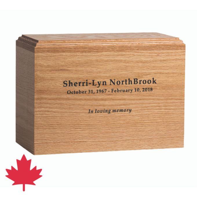 Oak wood cremation urn made in Canada