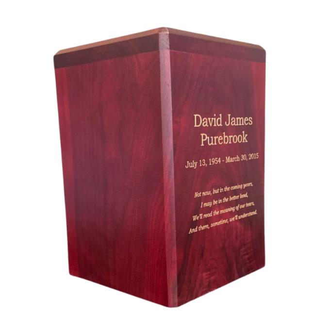Walnut wood urn made in Canada