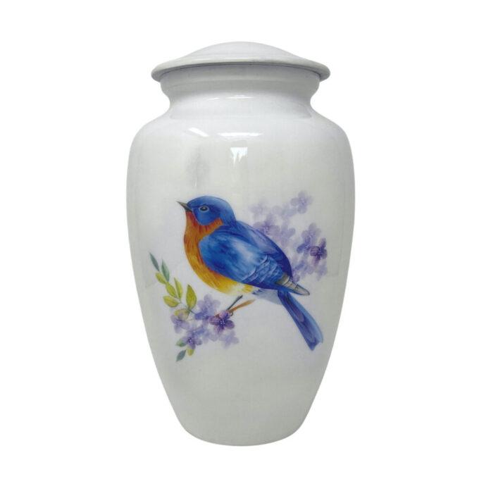 Bluebird-aluminum-urn