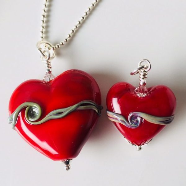 Opaque Red Glass Heart