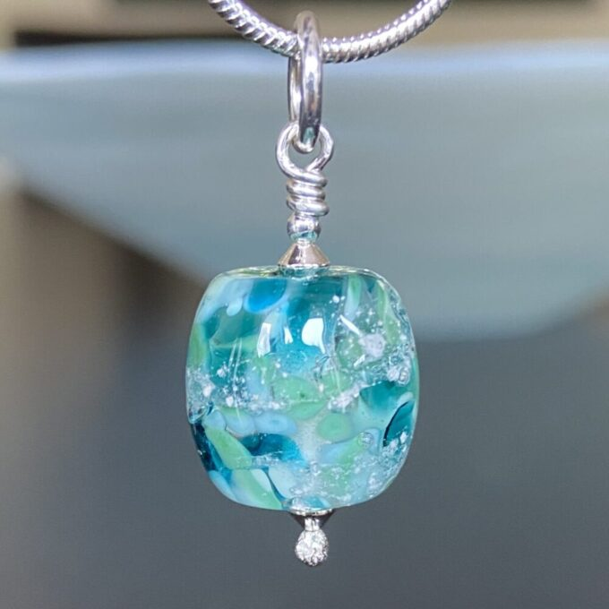 Turquoise Barrel Shaped Glass Memorial Bead