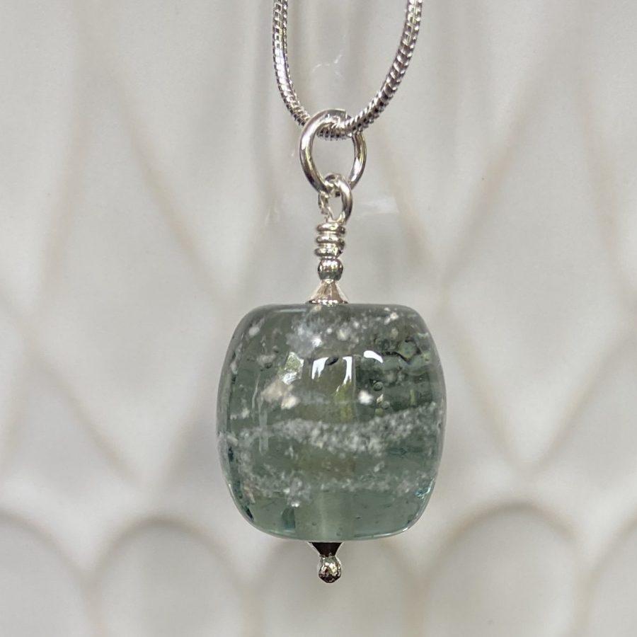 Light Grey Barrel Glass Bead