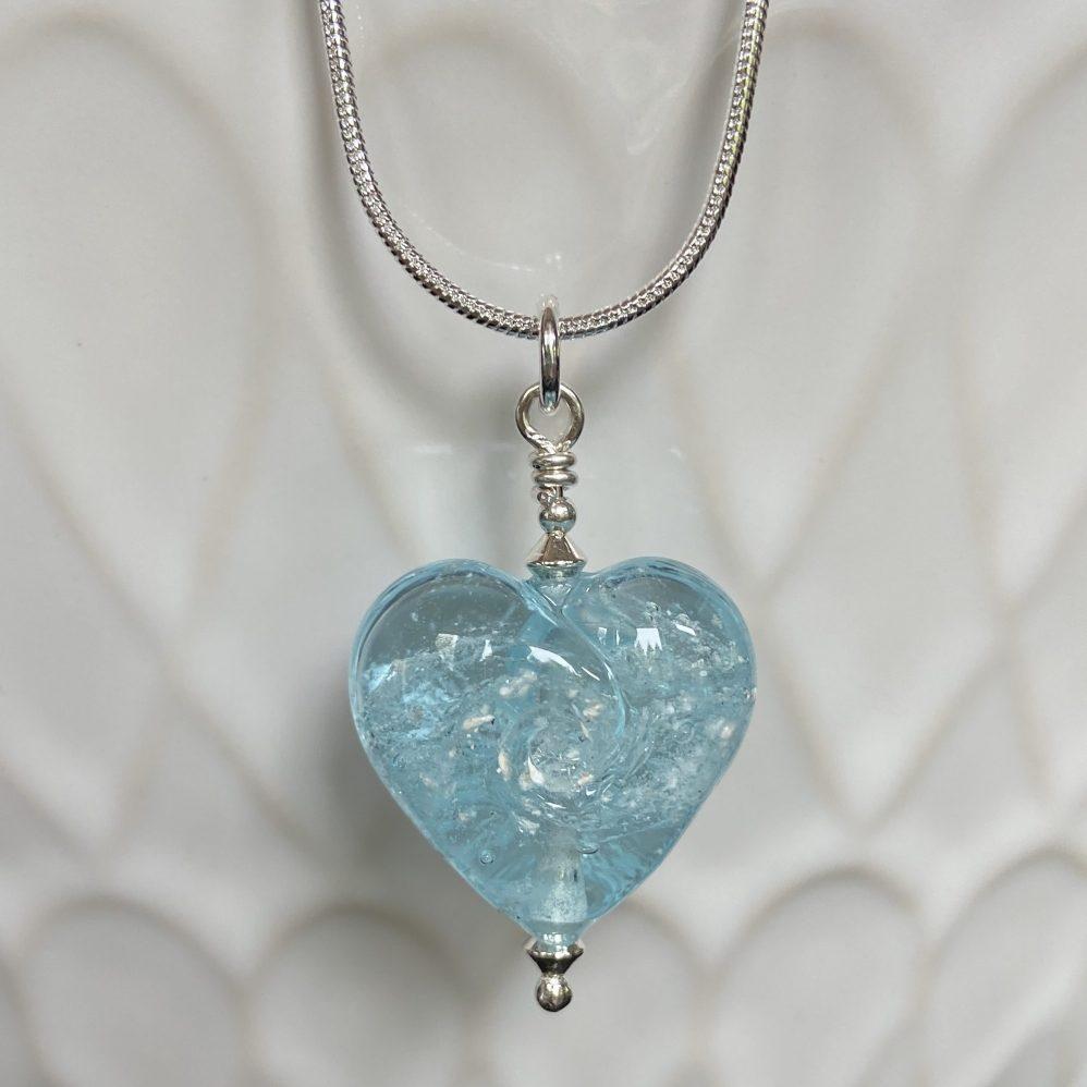 Pale Blue Mini Glass Heart