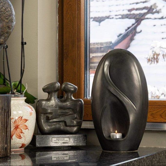 Always and Forever Memorial Products: Eternity Ceramic Urn Black