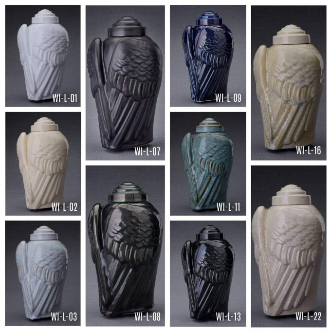 Always and Forever Memorial Products: Ceramic Angel Wings Urn